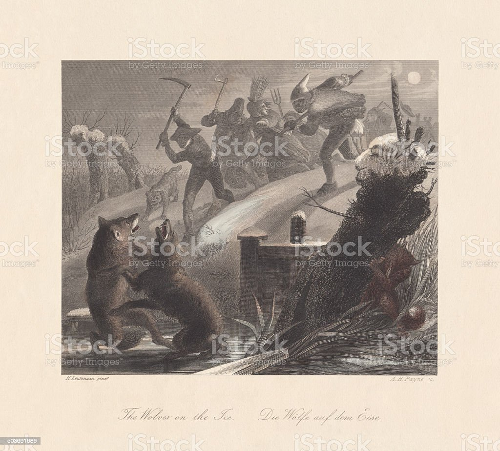 Wolves on the Ice. From 'Reynard the Fox', published c.1855 vector art illustration