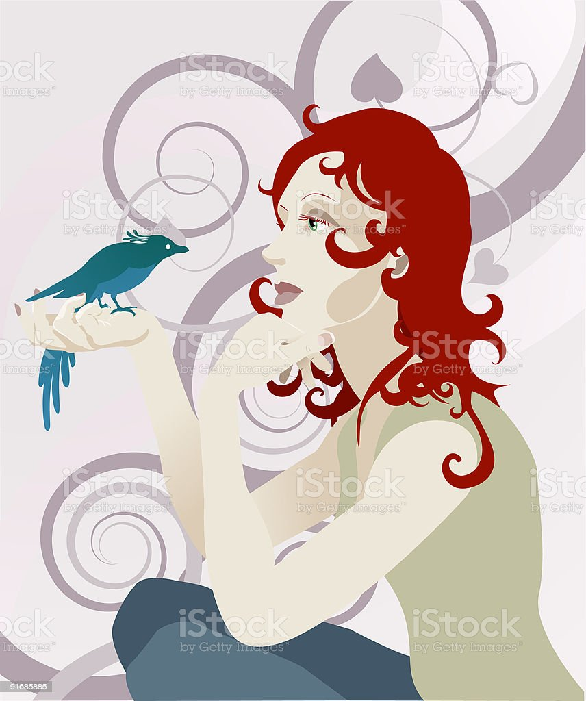 Woman and bird concept royalty-free stock vector art
