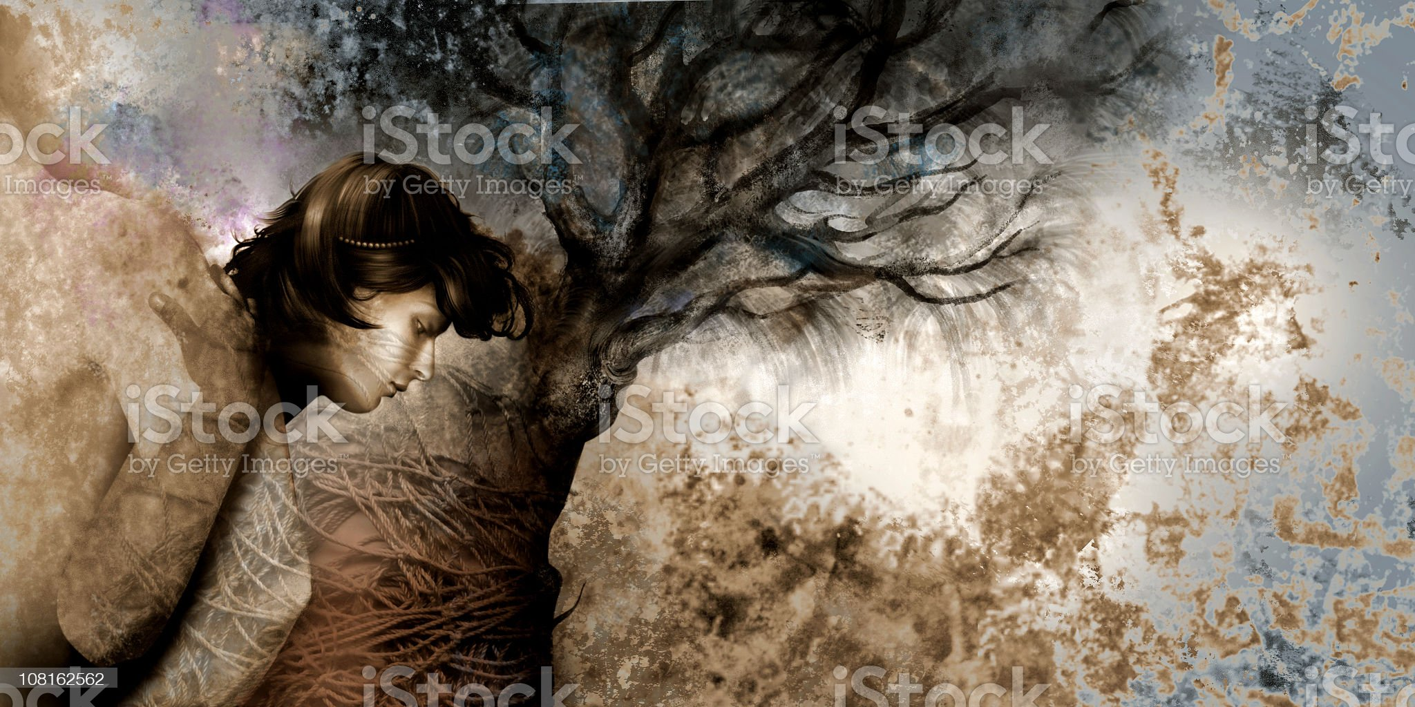 Woman and Man in Tree Branches, Illustration royalty-free stock vector art