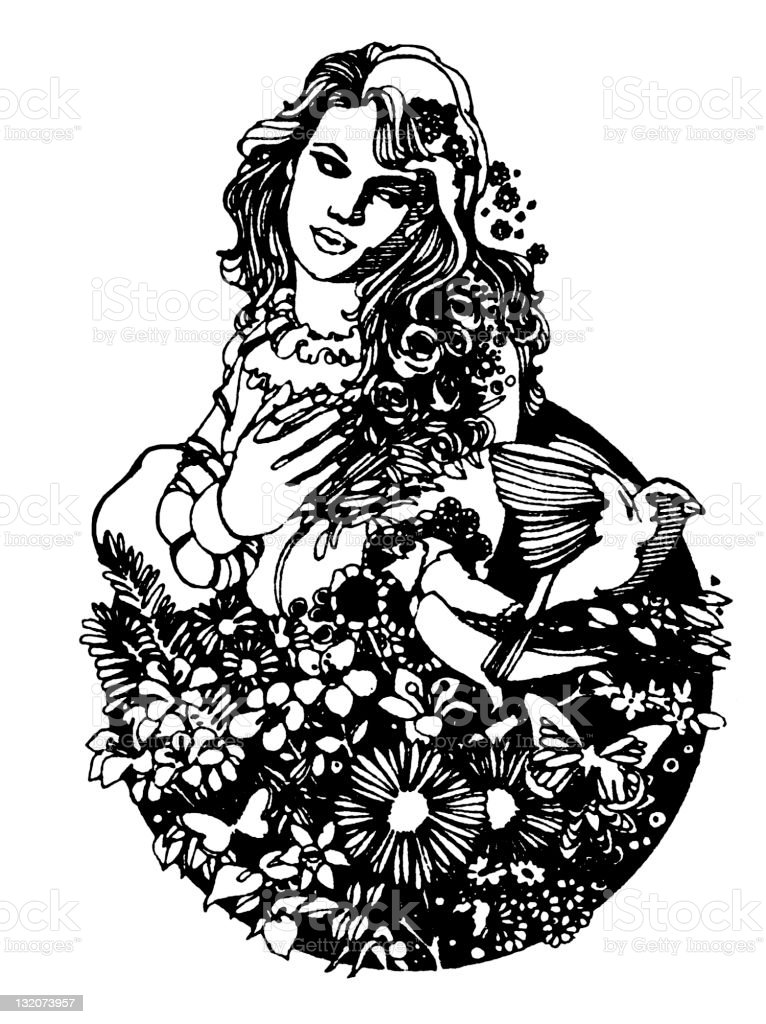 Woman and Nature vector art illustration