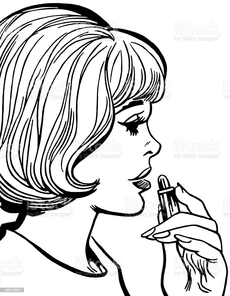 Woman Applying Lipstick royalty-free stock vector art