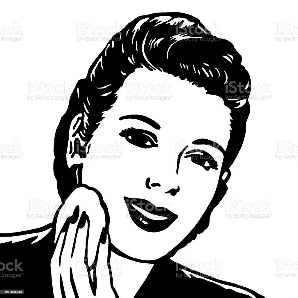 Woman Applying Powder royalty-free stock vector art