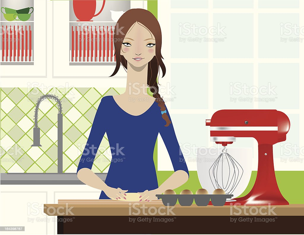 Woman Baking in Kitchen royalty-free stock vector art