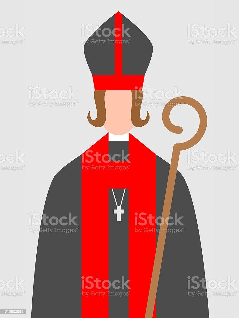 Woman - bishop vector art illustration