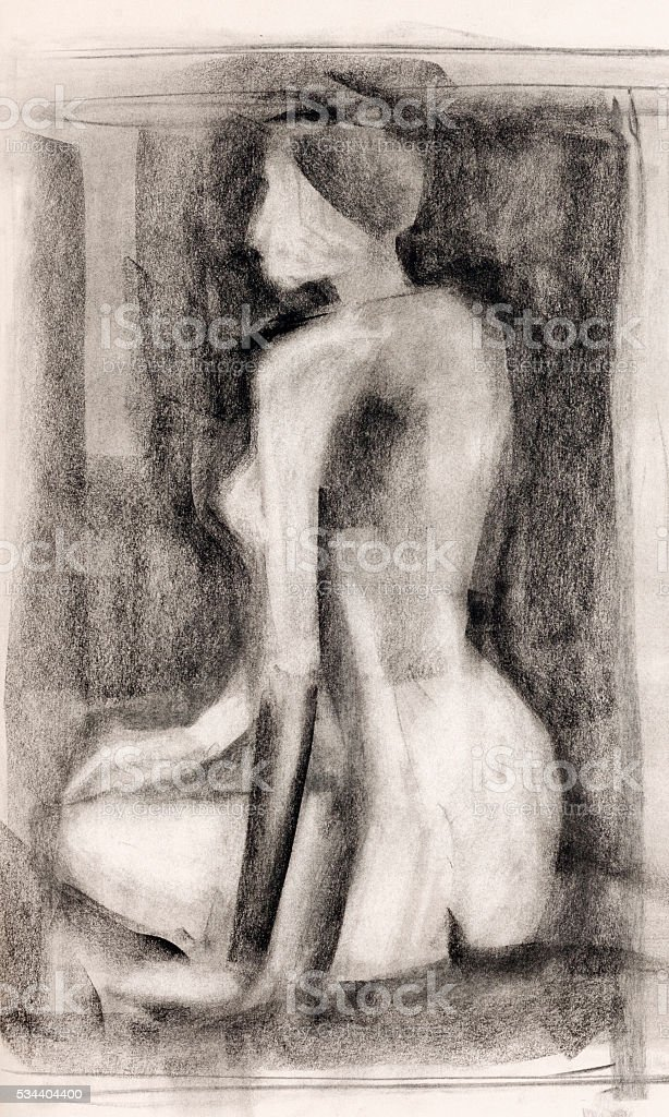woman  body study charcoal drawing vector art illustration