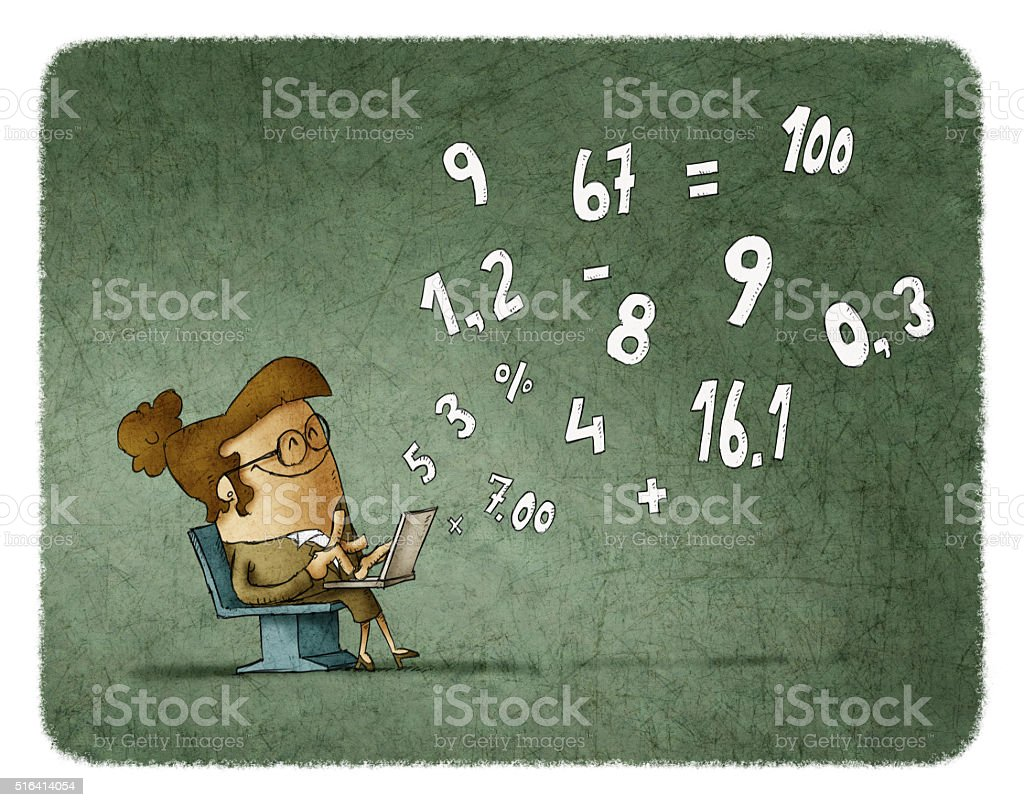 Woman calculating numbers on laptop vector art illustration