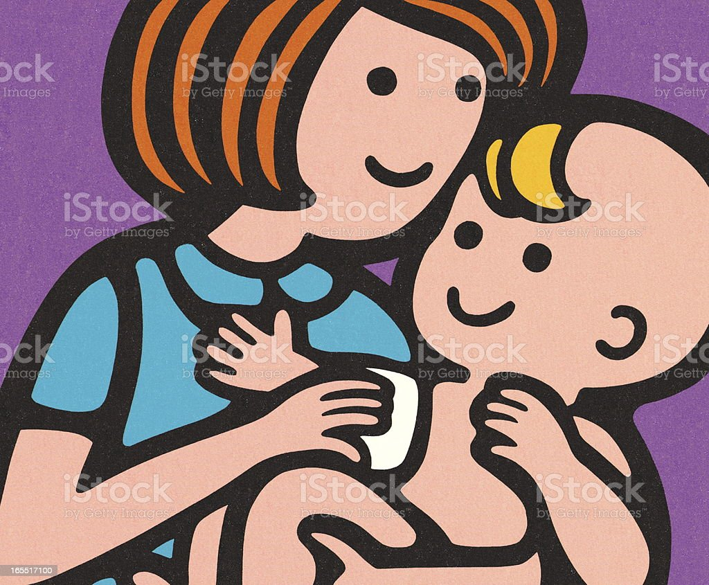 Woman Caring for a Baby royalty-free stock vector art