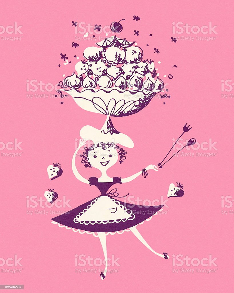 Woman Carrying a Fruit Bowl royalty-free stock vector art