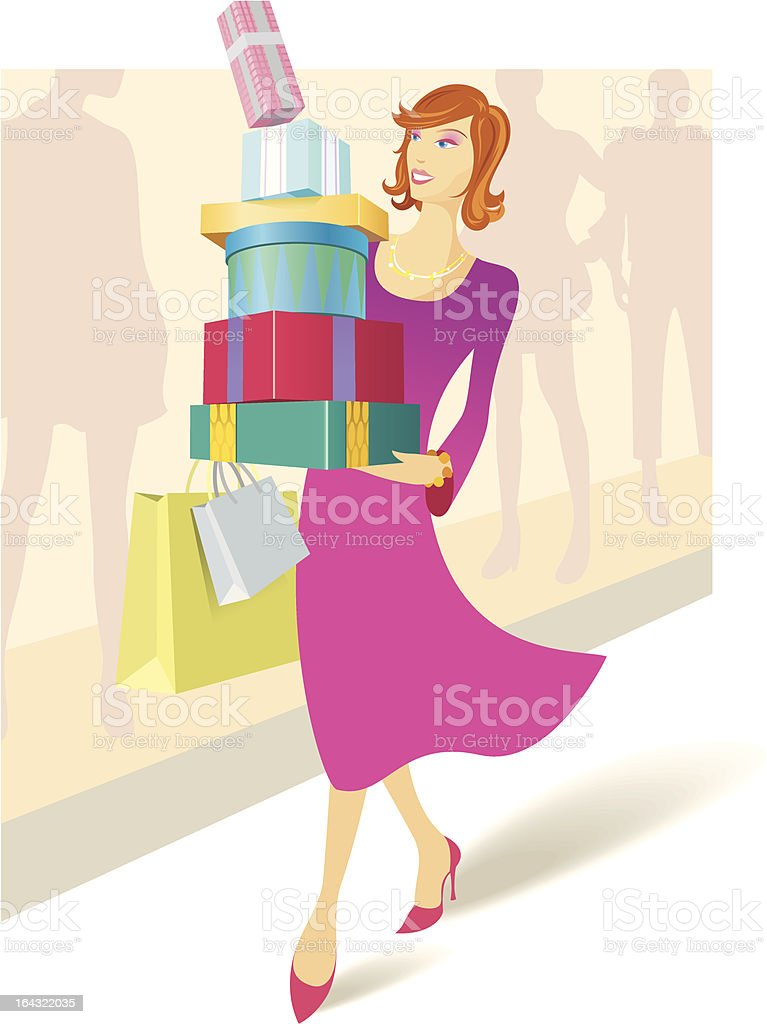 Woman carrying a stack of presents & bags royalty-free stock vector art
