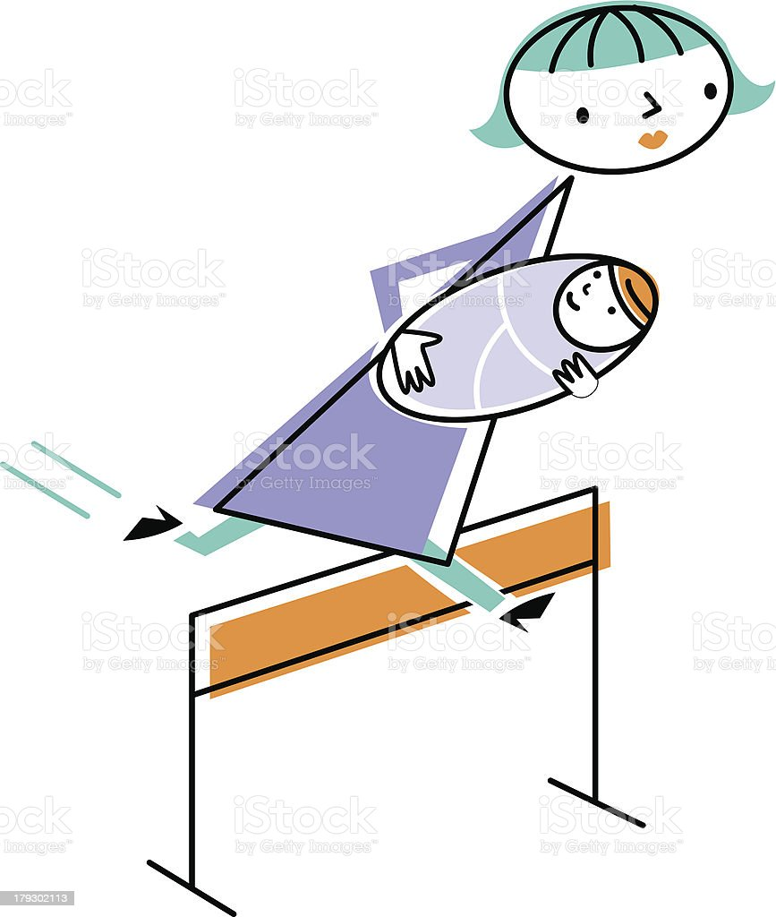 Woman carrying baby jumping over hurdle royalty-free stock vector art