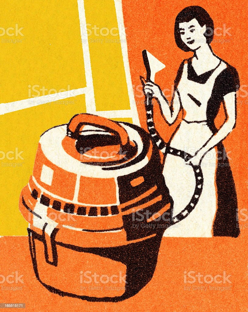 Woman Cleaning With a Canister Vacuum royalty-free stock vector art