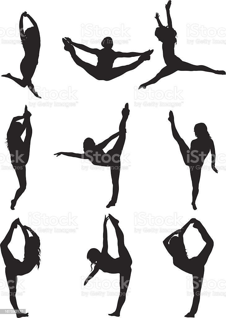 Woman dancing vector art illustration