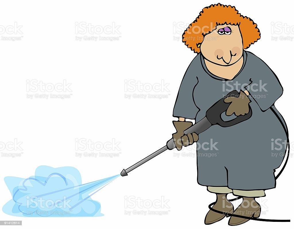 Woman Doing A Pressure Wash vector art illustration