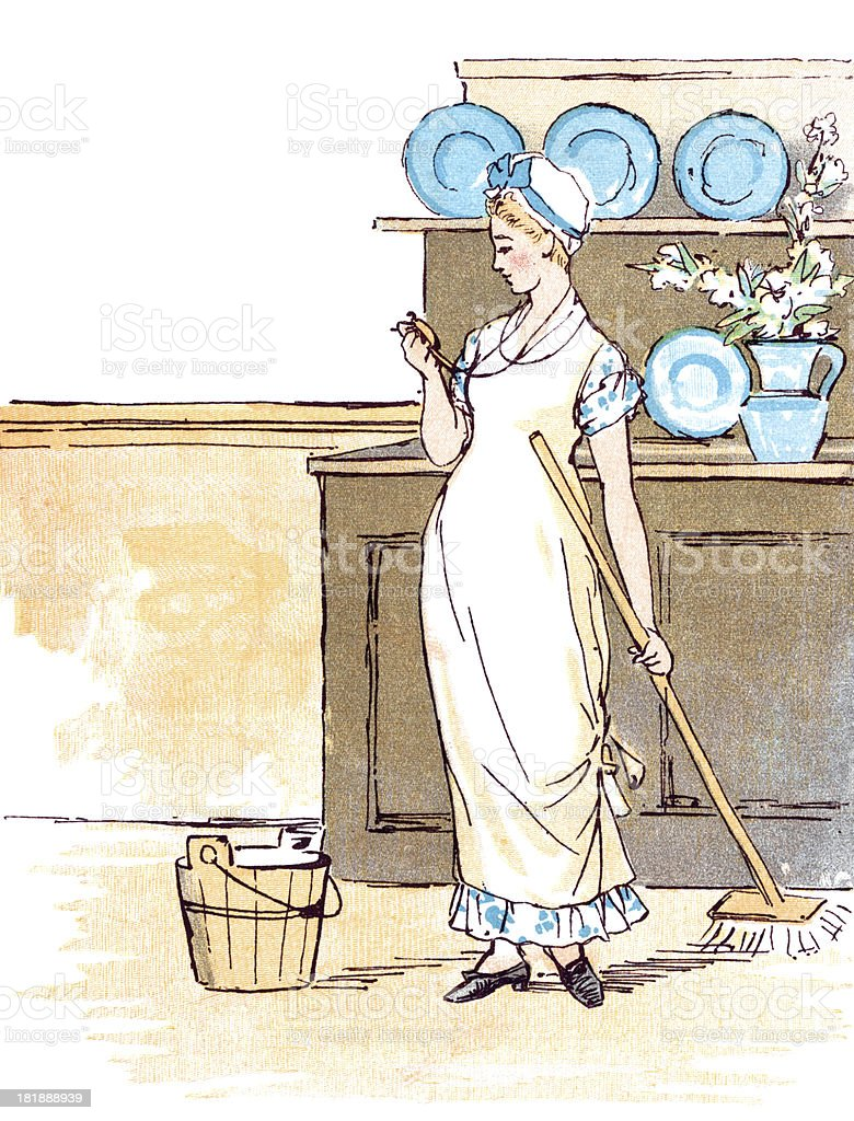 Woman doing housework, looking at locket image of her beloved vector art illustration