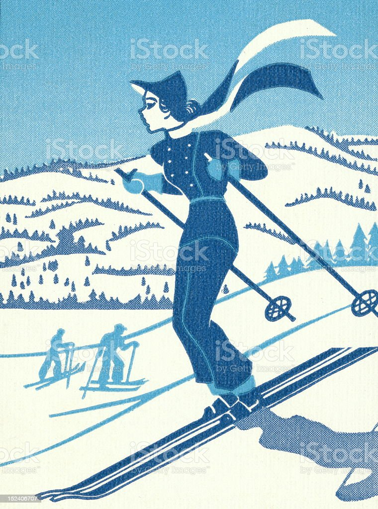 Woman Downhill Skiing royalty-free stock vector art