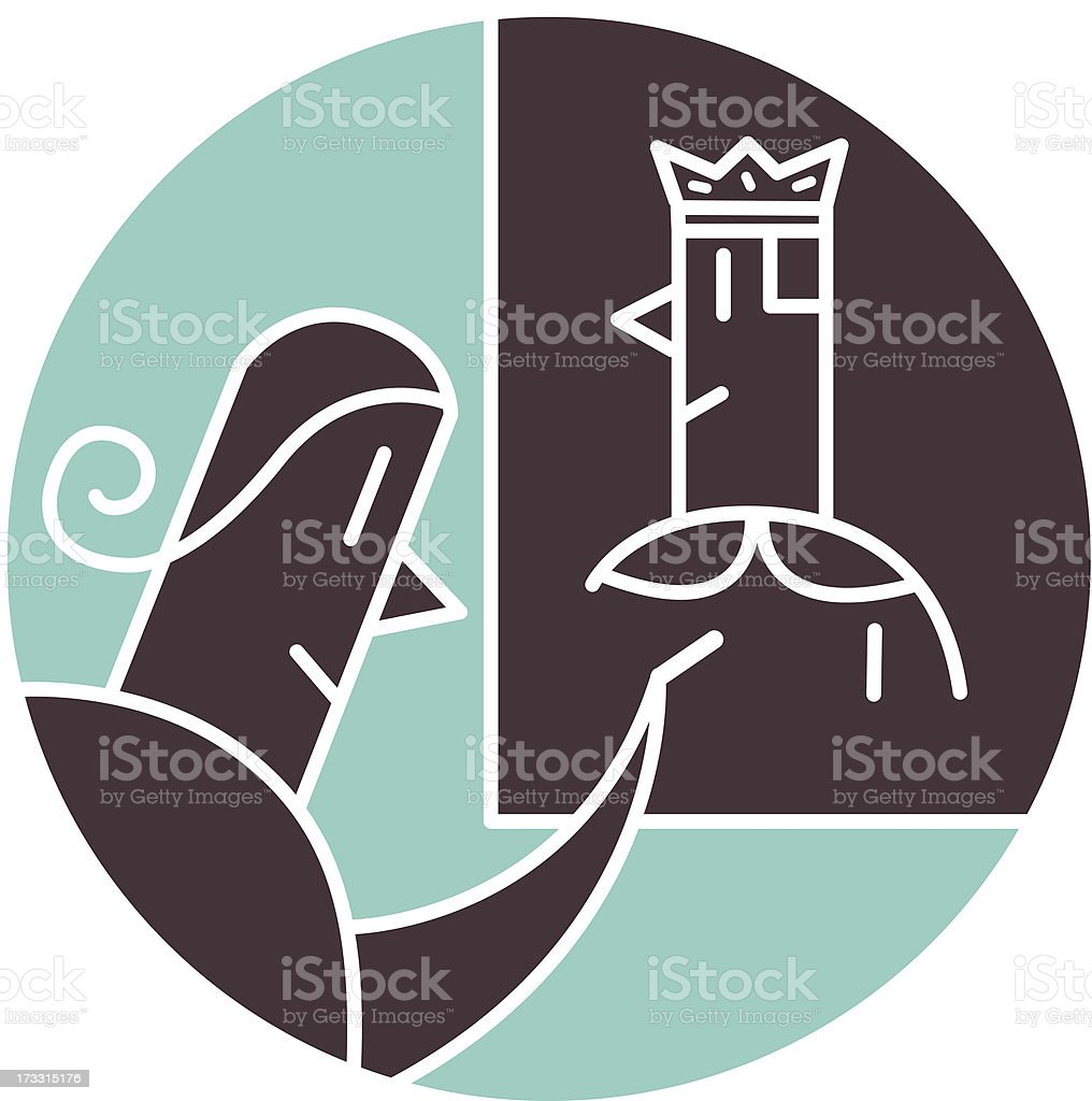 Woman drawing her prince charming royalty-free stock vector art