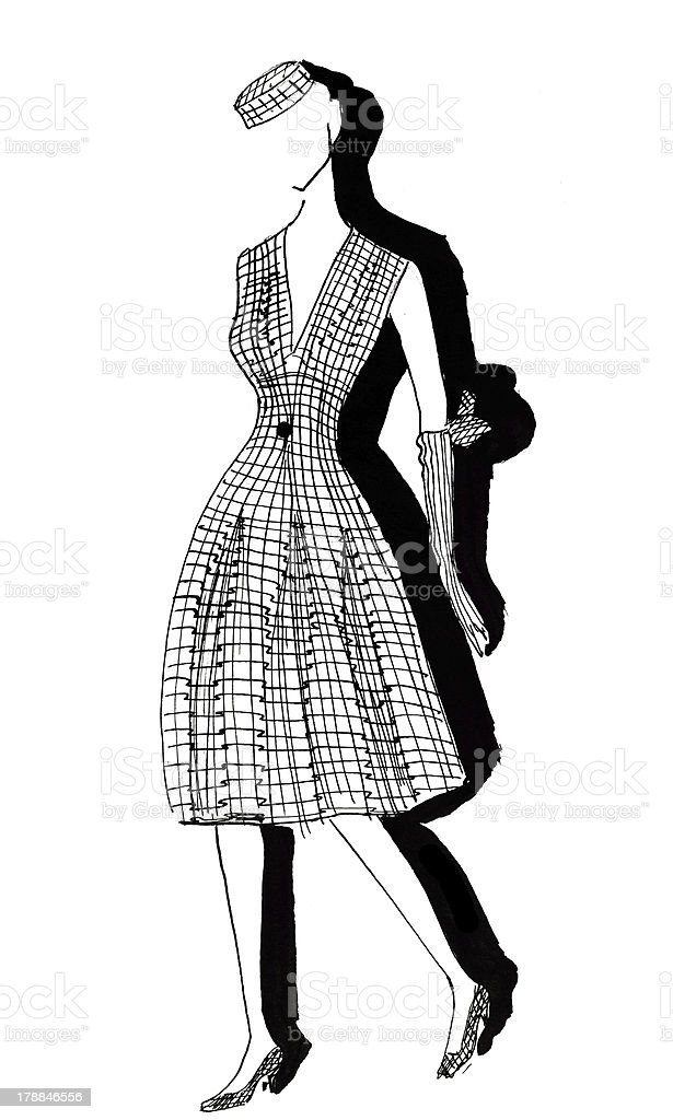 woman dress and hat from tweed in 50th years royalty-free stock vector art