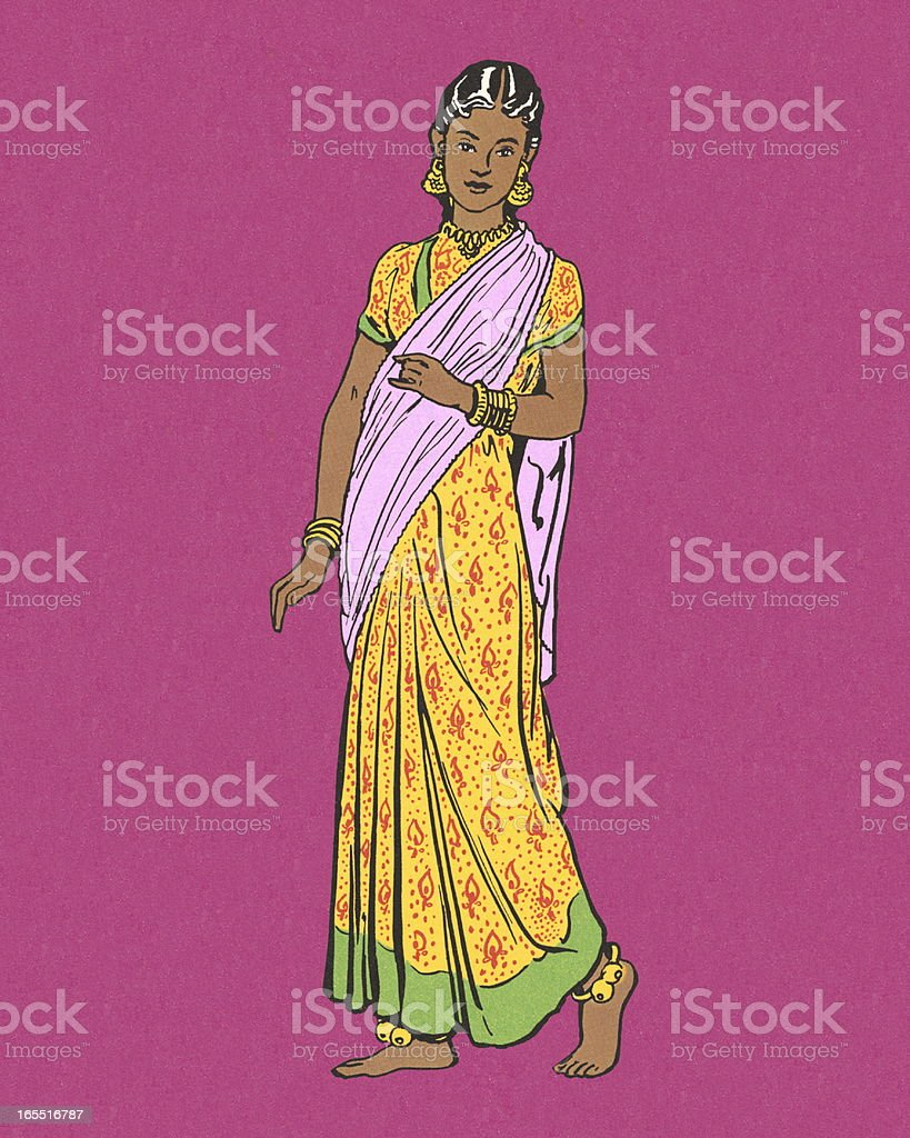 Woman Dressed  in Traditional Costume vector art illustration
