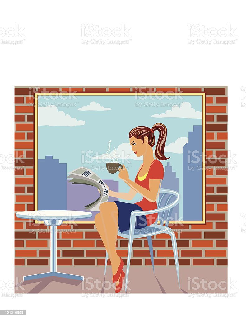 Woman drinking coffee in a cafe vector art illustration
