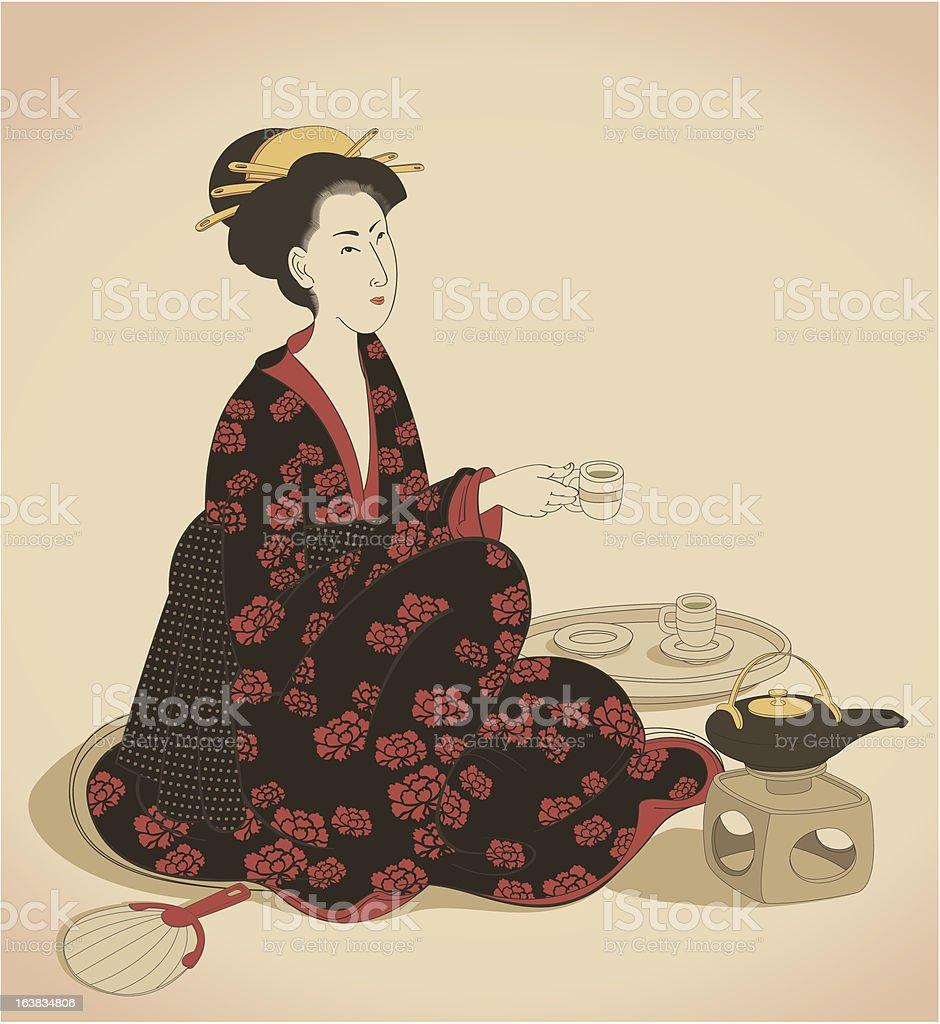 woman drinking tea vector art illustration