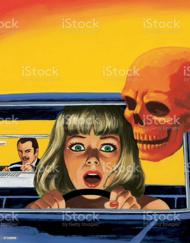 Woman Driving Being Chased By Another Car royalty-free stock vector art