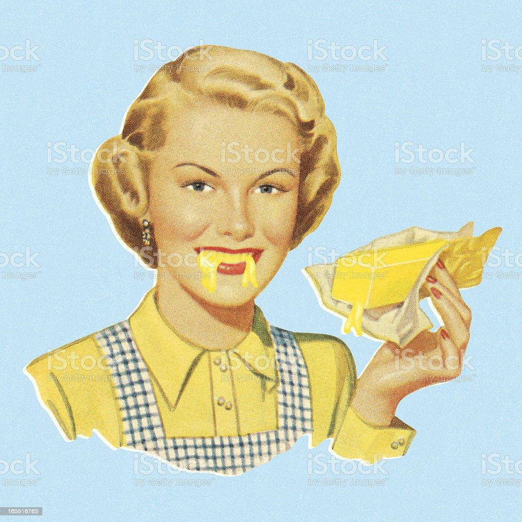 Woman Eating Butter vector art illustration