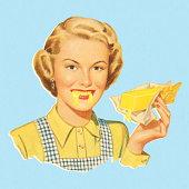 Woman Eating Butter