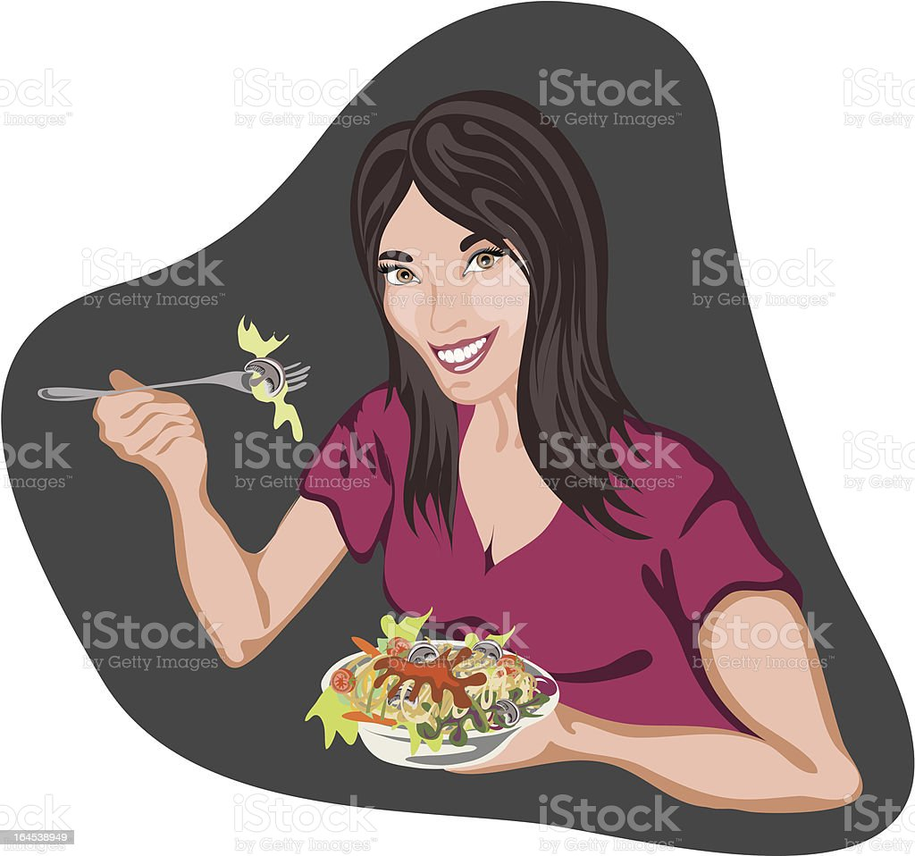 woman eating pasta salad, smiling royalty-free stock vector art