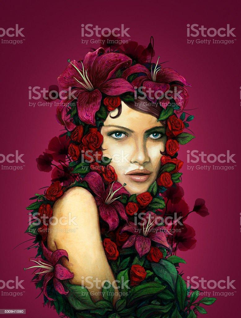 woman flowers portrait red background vector art illustration