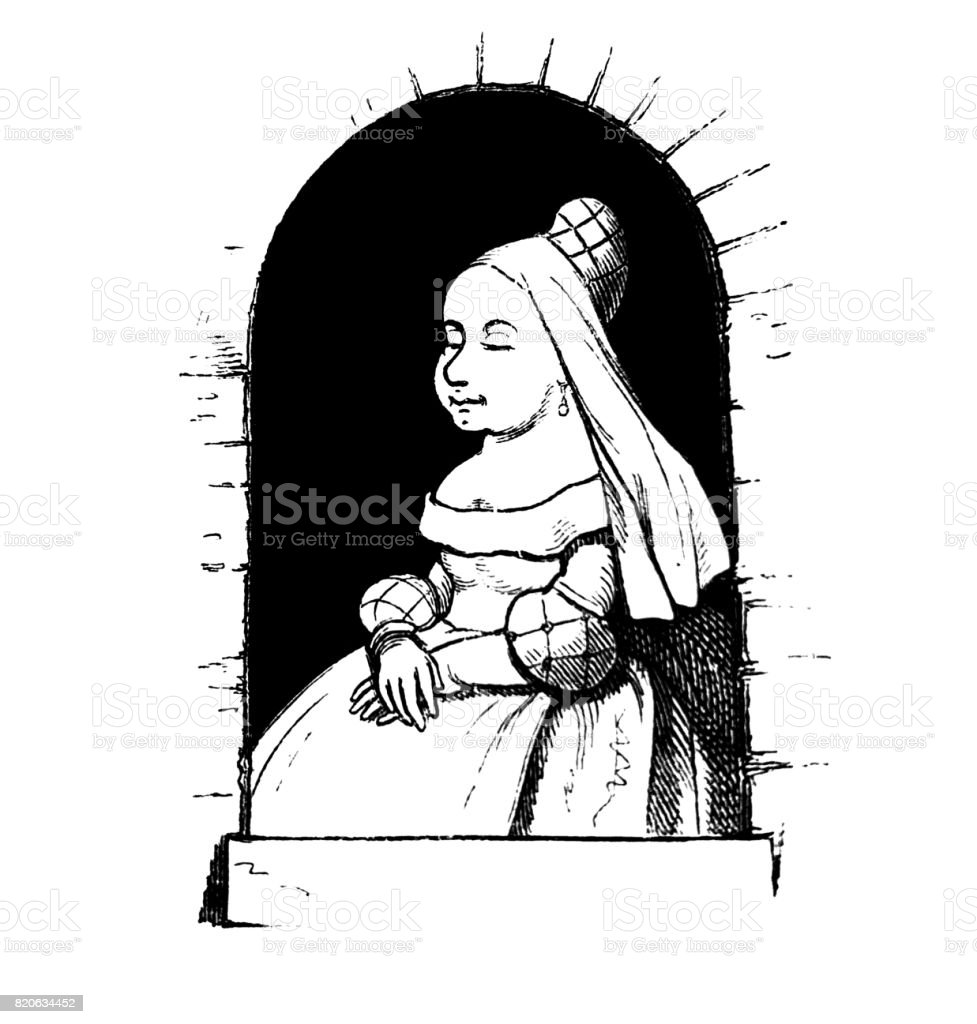 Woman from the renaissance, well dressed sitting in a window with her eyes closed and dreaming - 1867 vector art illustration