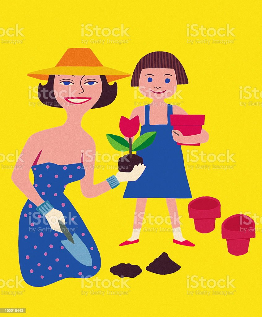 Woman Gardening with Girl Helping royalty-free stock vector art