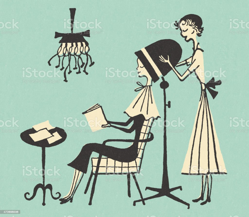 Woman Getting Her Hair Done at the Beauty Parlor vector art illustration