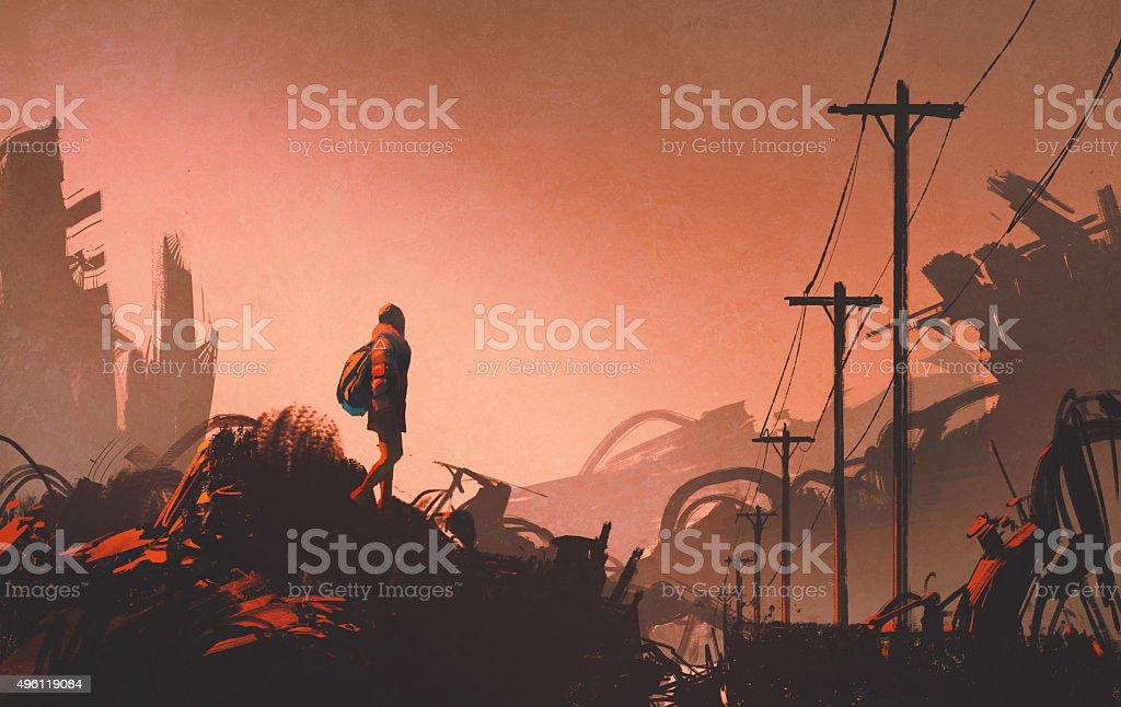 woman hiker looking at abandoned city vector art illustration