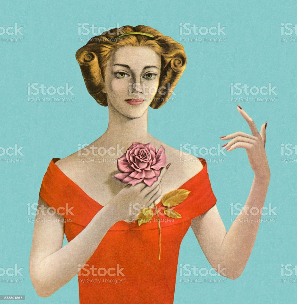 Woman Holding a Flower vector art illustration
