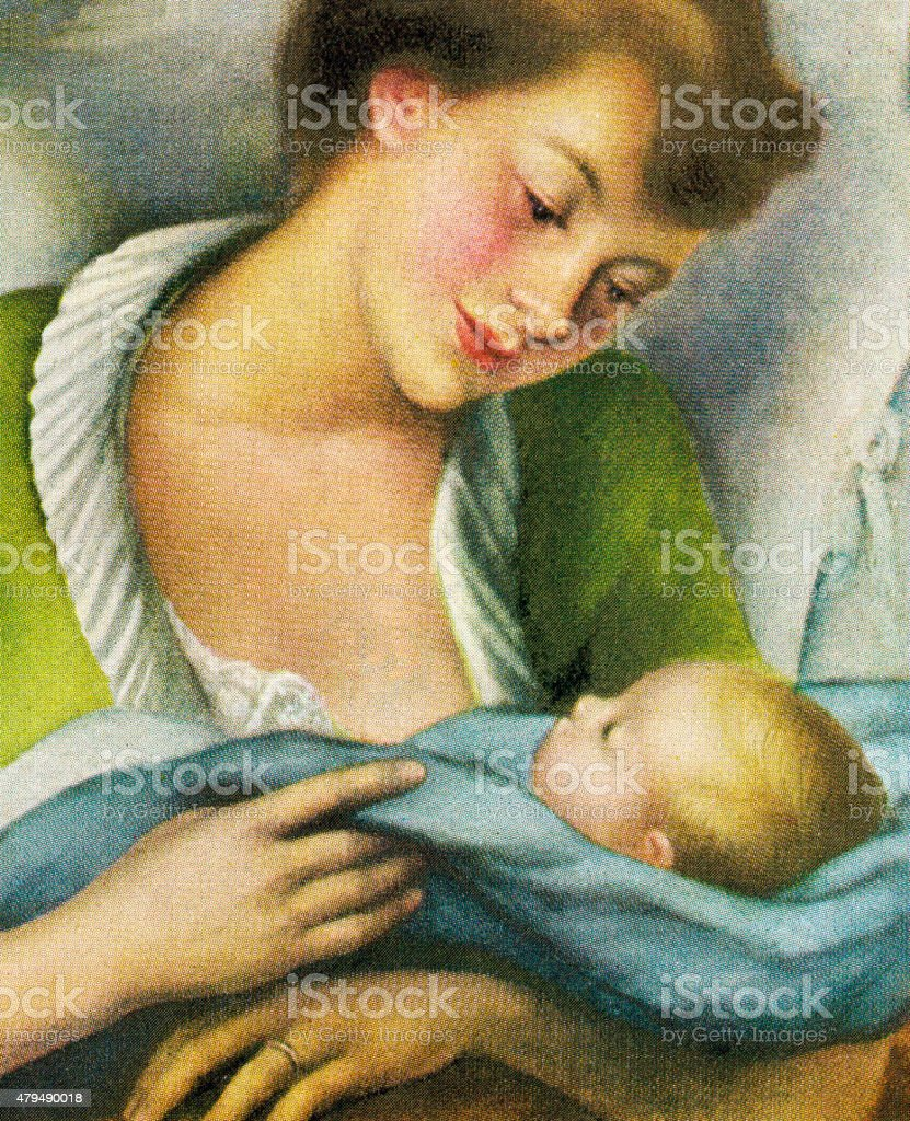 Woman Holding Baby vector art illustration