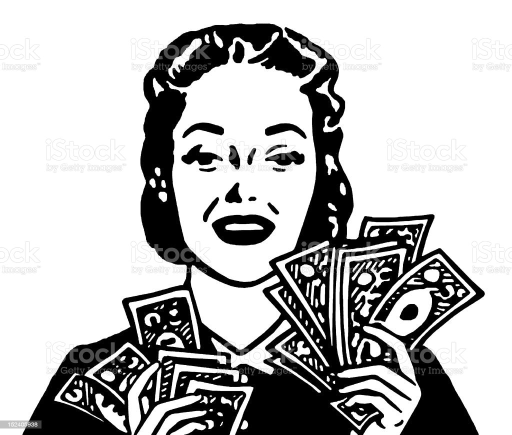 Woman Holding Cash royalty-free stock vector art