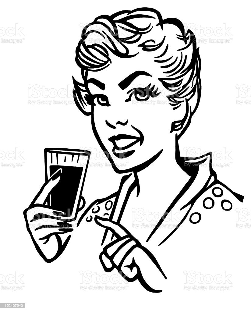 Woman Holding Drink royalty-free stock vector art