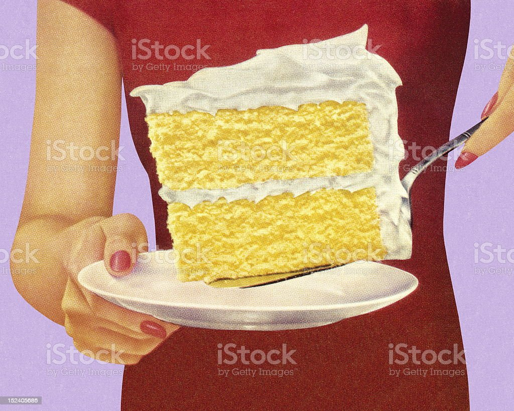 Woman Holding Large Piece of Cake vector art illustration