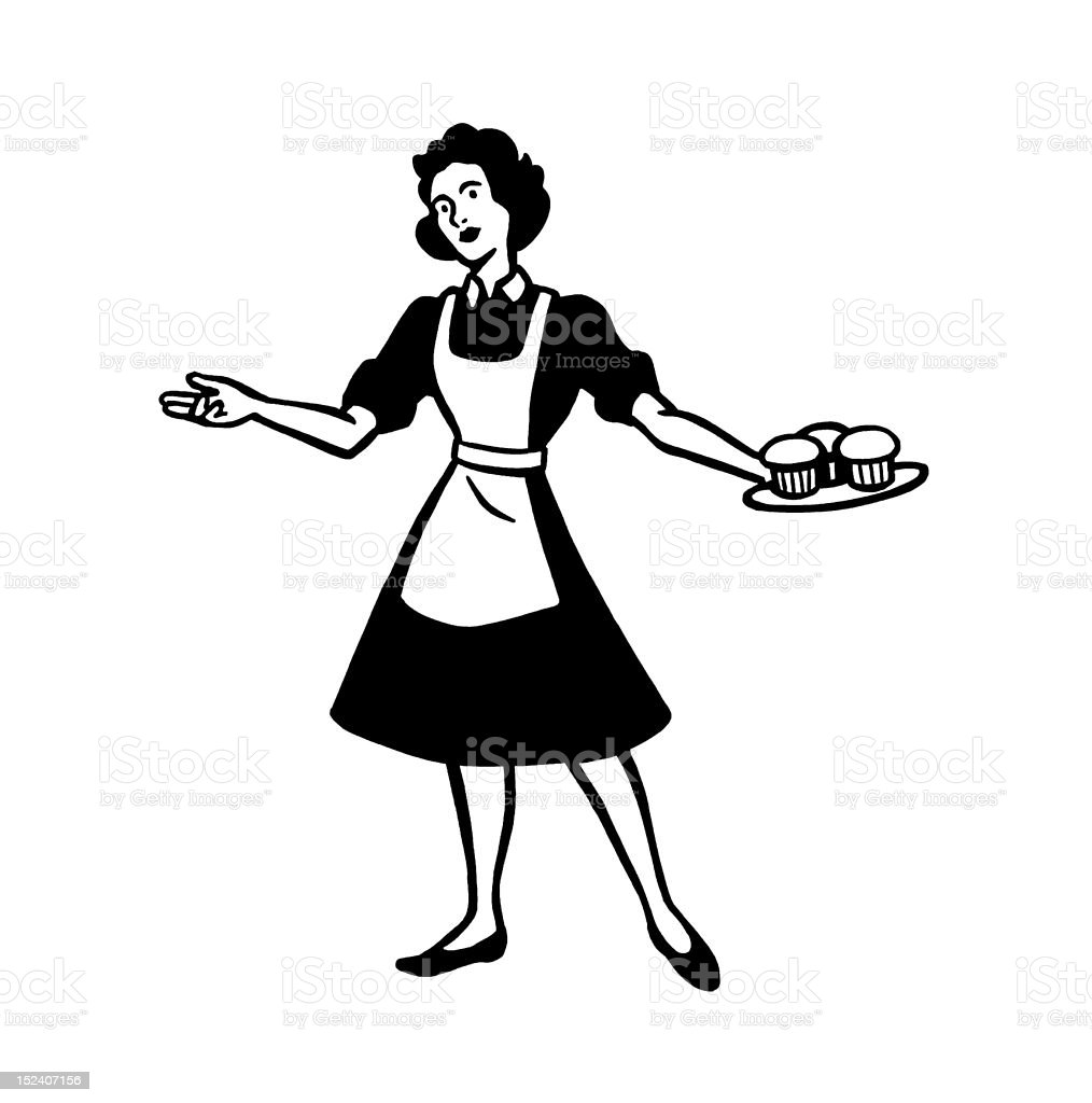 Woman Holding Plate of Muffins royalty-free stock vector art