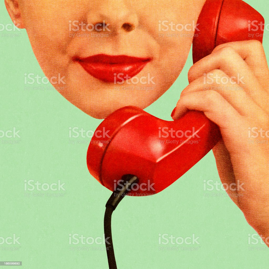 Woman Holding Red Phone to Her Ear vector art illustration