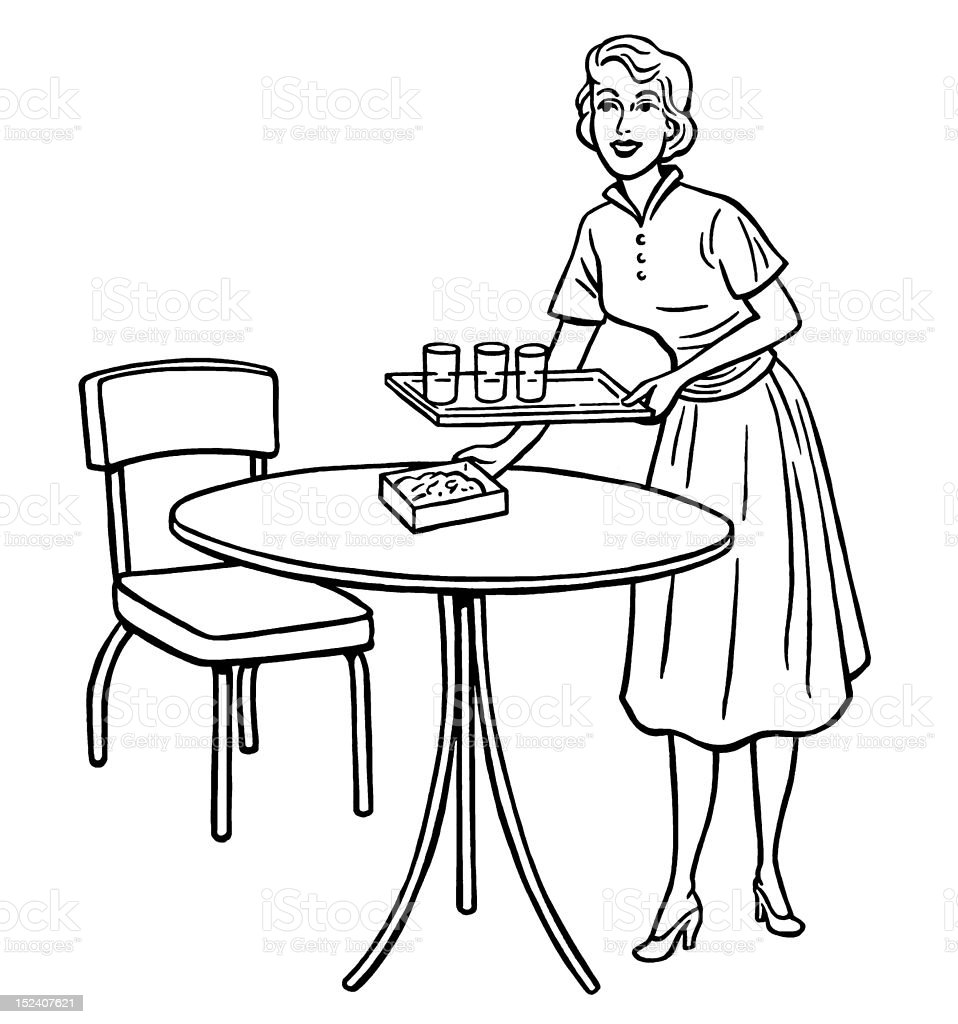 Woman Holding Tray at Table royalty-free stock vector art