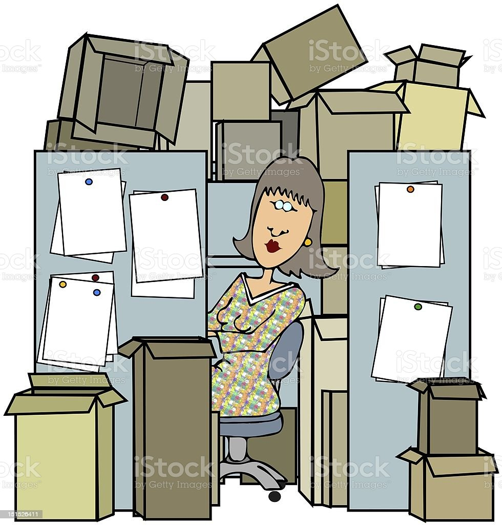 Woman In A Cluttered Cubicle vector art illustration