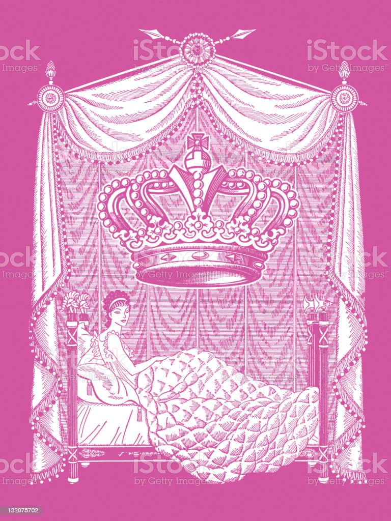 Woman in Bedroom with Giant Crown royalty-free stock vector art