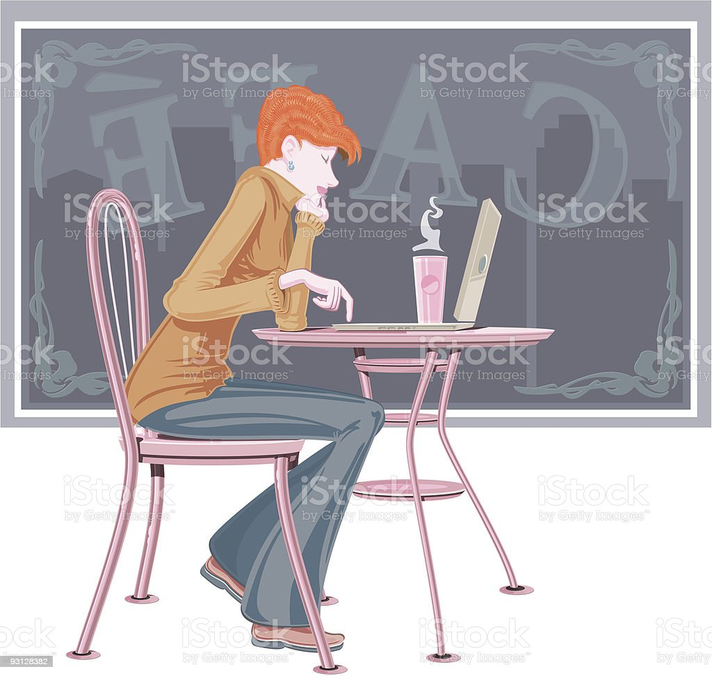 Woman In Cafe With Laptop royalty-free stock vector art