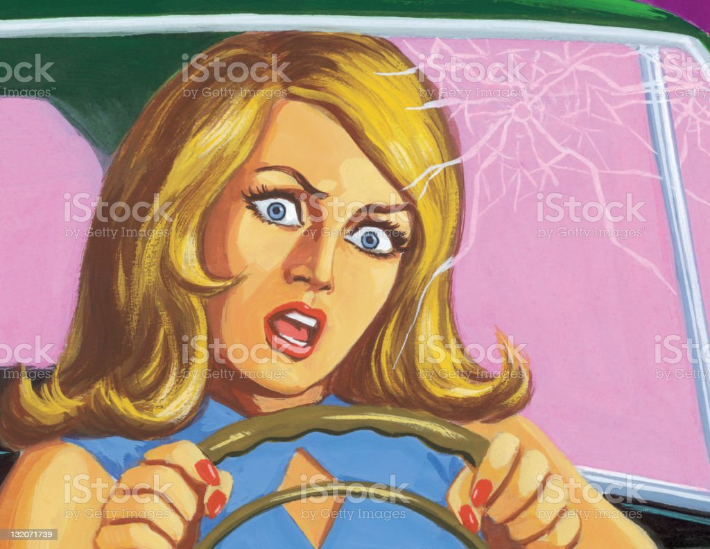 Woman in Car with Cracked Windshield vector art illustration