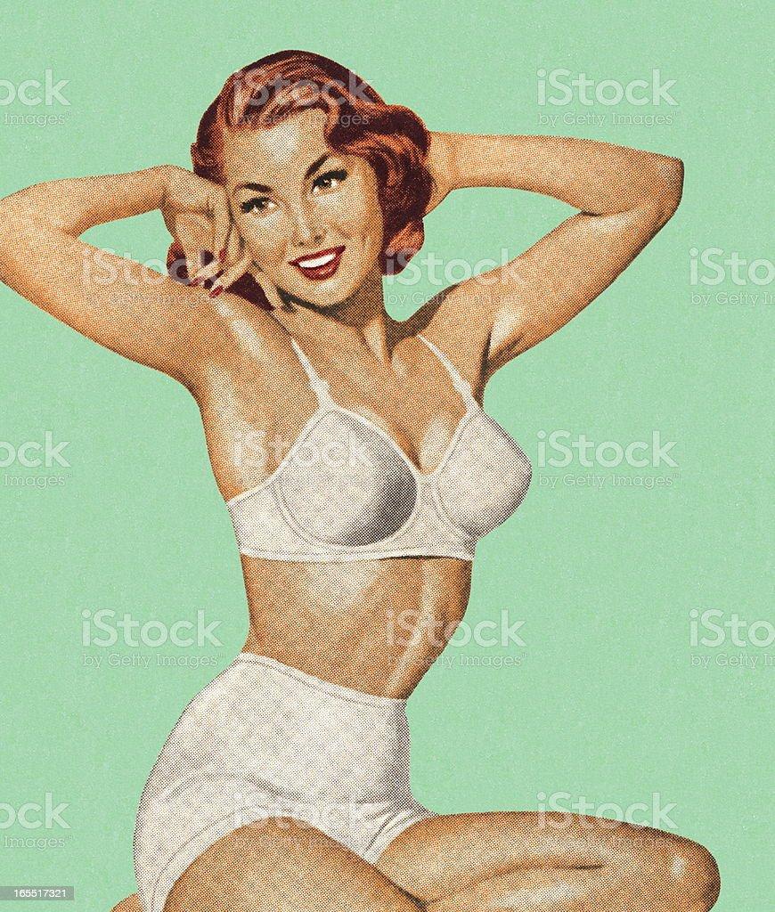 Woman In Her Underwear vector art illustration