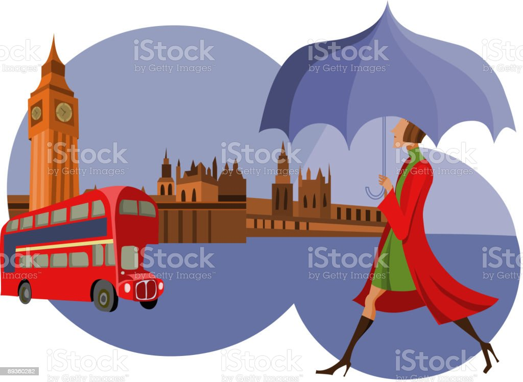 woman in London royalty-free stock vector art