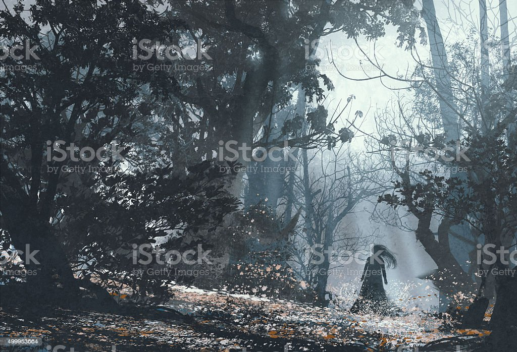 woman in mysterious dark forest vector art illustration