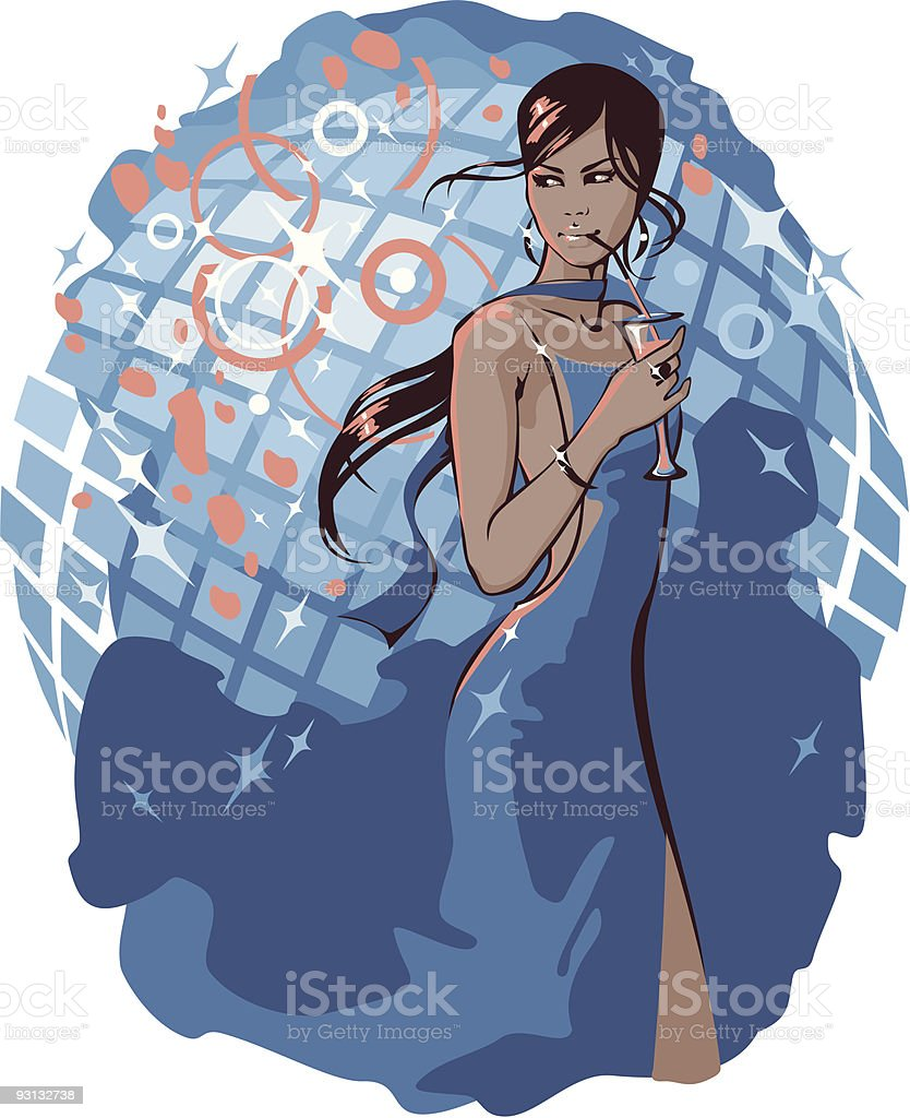 Woman in night club royalty-free stock vector art