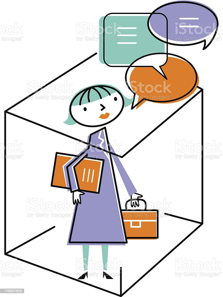Woman in office with speech bubbles royalty-free stock vector art